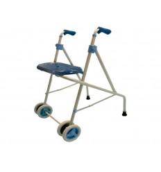 Andador de aluminio con 2 ruedas y asiento AL 3G azul